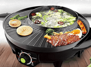 Electric hot pot with BBQ grill